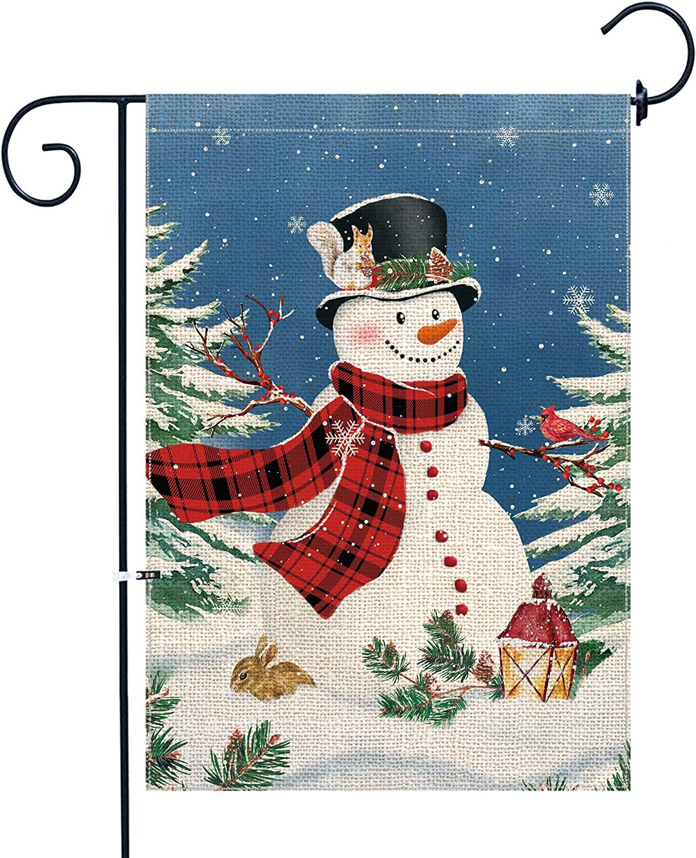 pinata Snowman Christmas Garden Flag 12 X 18 Inch Double Sided Small Winter Garden Flag Red Buffalo Plaid Christmas Banner Decorative Yard Flag Burlap Seasonal Cute Holiday Flag