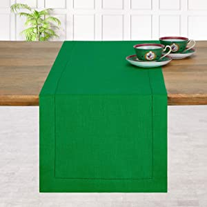 D'Moksha Homes 100% Pure Linen Hemstitch Table Runner - 14 x 72 Inch Glorious Green, Natural Fabric European Flax, Machine Washable, Handcrafted Dresser Scarf with Mitered Corners, Great for Gifting