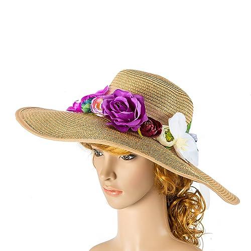 e386808dc44dd Amazon.com  Custom personalized sun floppy straw beach hat pom hand-painted  Mrs. wedding honeymoon bachelorette derby party  Handmade