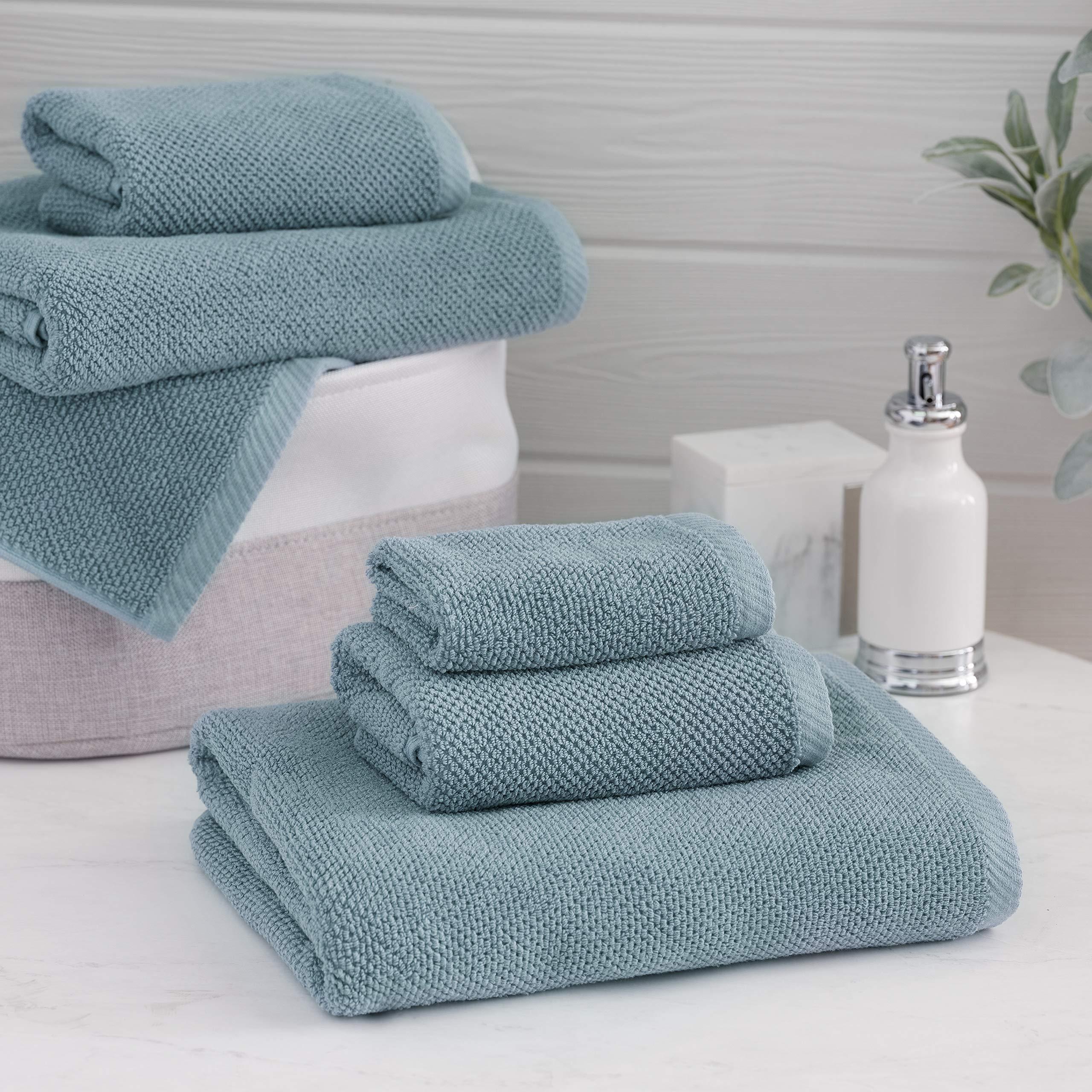 CDM product Welhome Franklin 100% Cotton Textured Towel (Dusty Blue) - Set of 6 - Highly Absorbent - Combed Cotton - Durable - Low Lint - 600 GSM - Machine Washable : 2 Bath Towels - 2 Hand Towels - 2 Wash Towels big image