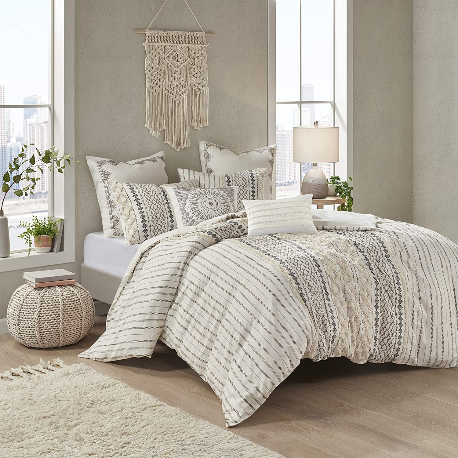 """INK+IVY 100% Cotton Comforter Mid Century Modern Design All Season Bedding Set, Matching Shams, Full/Queen(88""""x92""""), Imani, Ivory Chenille Tufted Accent 3 Piece: Home & Kitchen"""