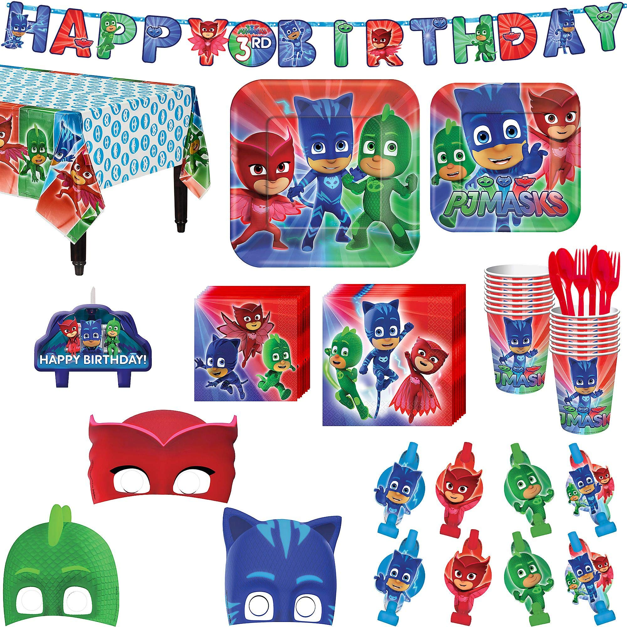 PJ Masks Birthday Party Kit, Includes Happy Birthday Banner, Candles and Eye Masks, Serves 16, by Party City