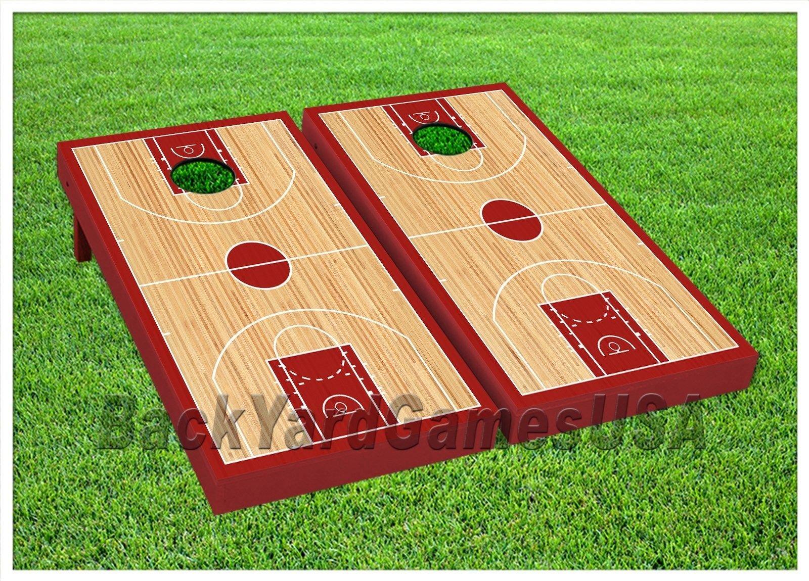 BASKETBALL COURT Cornhole Boards BEANBAG TOSS GAME w Bags NBA Fans Gift Set 314 by BackYardGamesUSA