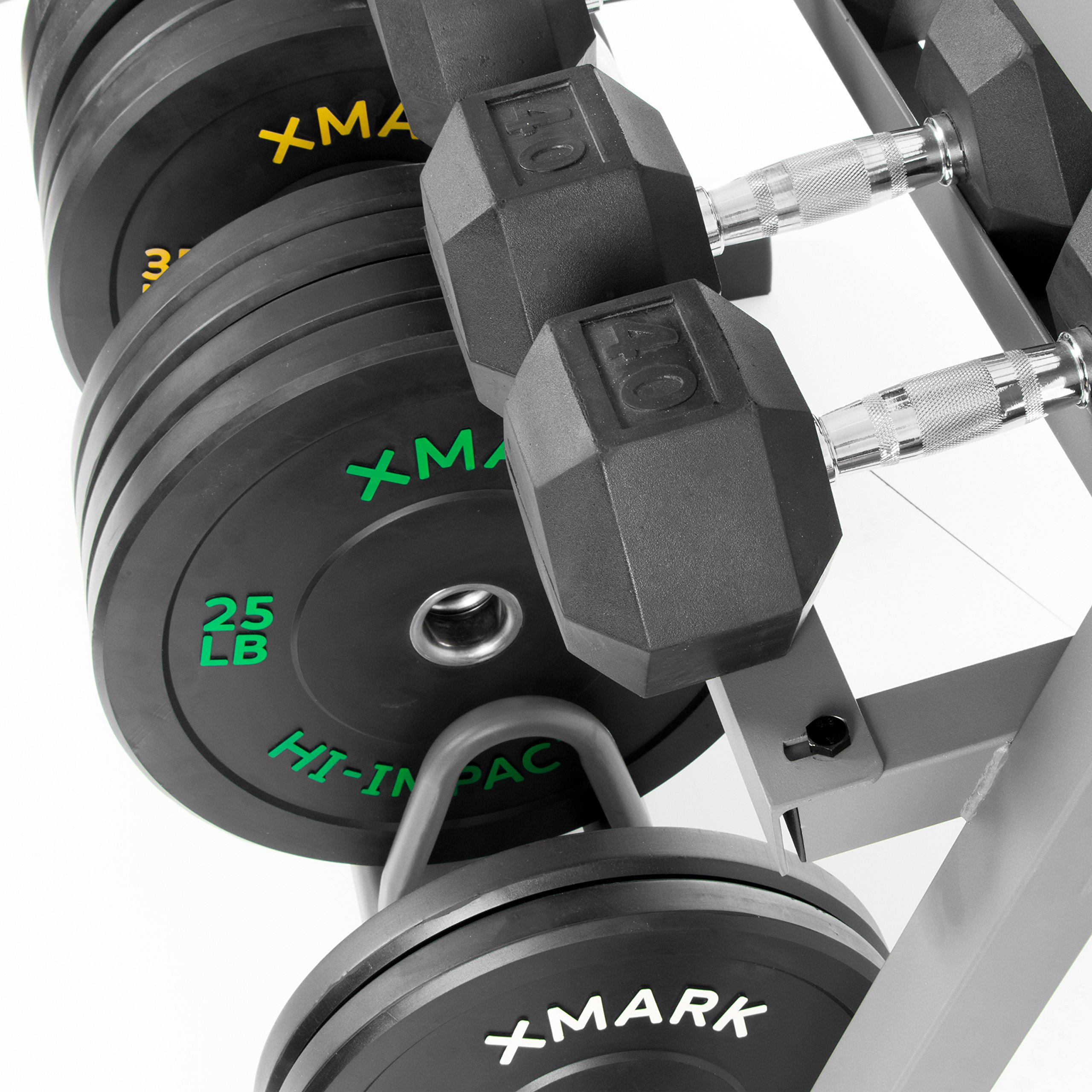 XMark All-in-One Dumbbell Rack, Plate Weight Storage and Dual Vertical Bar Holder, Design Patent Pending by XMark (Image #6)