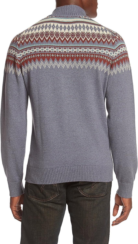 IZOD Mens Fairisle Buttoned Mock Neck 7 Gauge Sweater