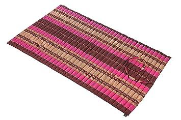 Colchón enrollable 100 x 200 cm alfombra tailandesa Thai esterilla de yoga cojín rojo-rosa con relleno de Kapok