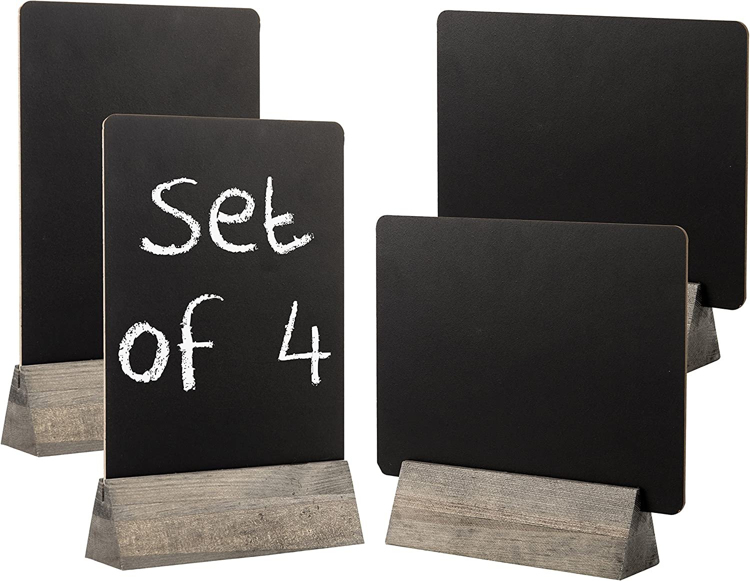 Set of 4 Tabletop Double Sided Chalkboard Display Sign, Placeholder with Rustic Gray Wood Stand