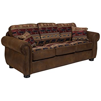 Amazon.com: Porter Designs Hunter Sofa, brown: Kitchen & Dining