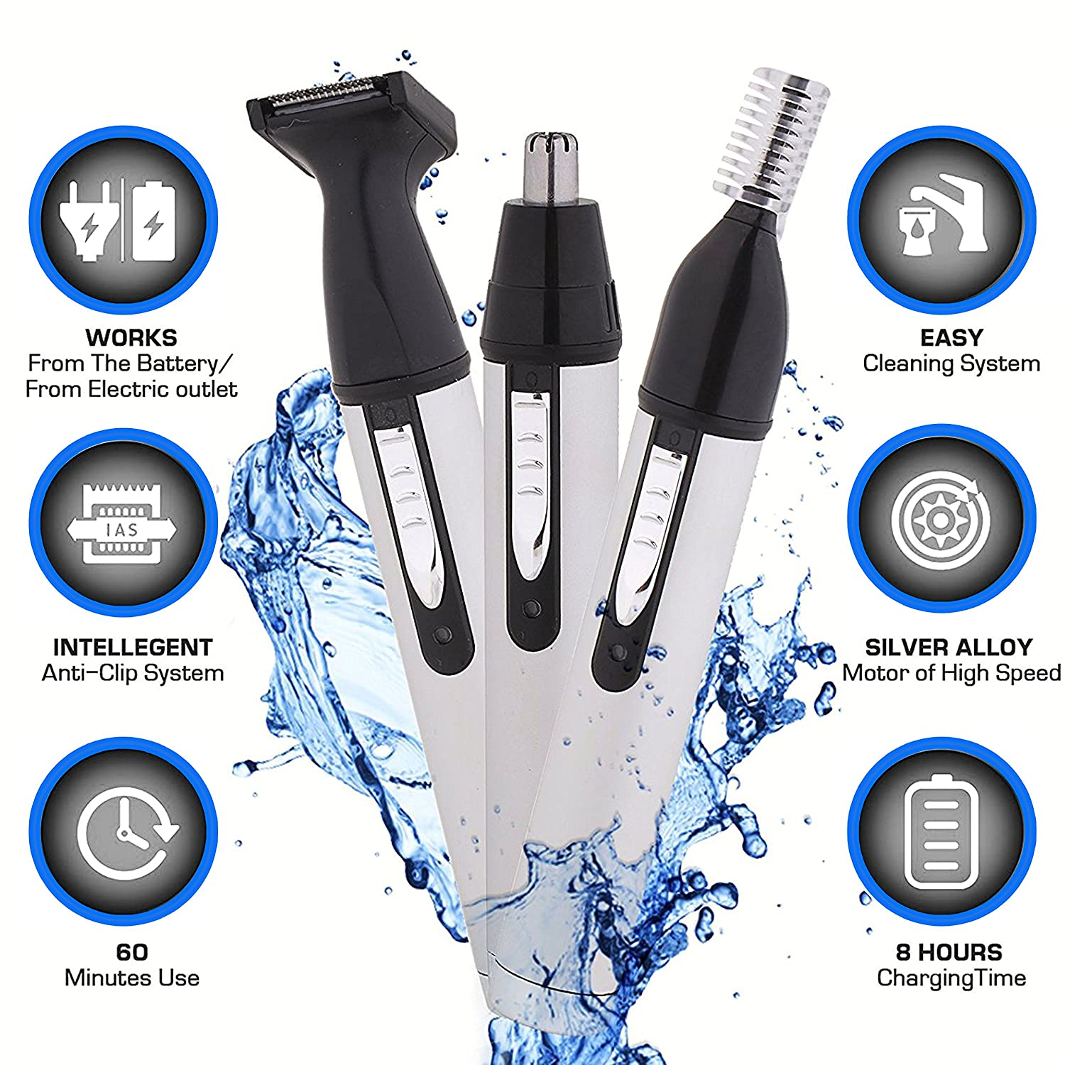Nose Hair Trimmer - Electric Personal Trimmer for Men Women - Eyebrow Ear Beard Cordless Trimmer - Best Precision Face Portable Trimmer - 3 in 1 Facial Stainless Steel Professional Nose Clippers Gemey