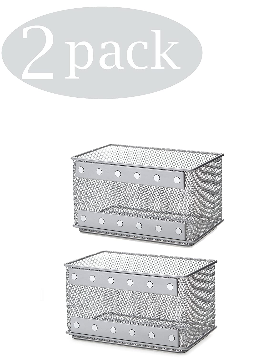 Ybmhome Wire Mesh Magnetic Storage Basket, Trash Caddy, Container, Desk Tray, Office Supply Organizer Silver for Refrigerator/Microwave Oven or Magnetic Surface in Kitchen or Office 2457-2 (2, Medium)