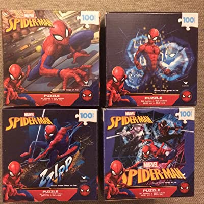 4 Puzzles Spider-Man Cardinal 100 Pieces Ages 6+ Bundle of 4 - Gift Set Great for Spiderman Fans: Toys & Games