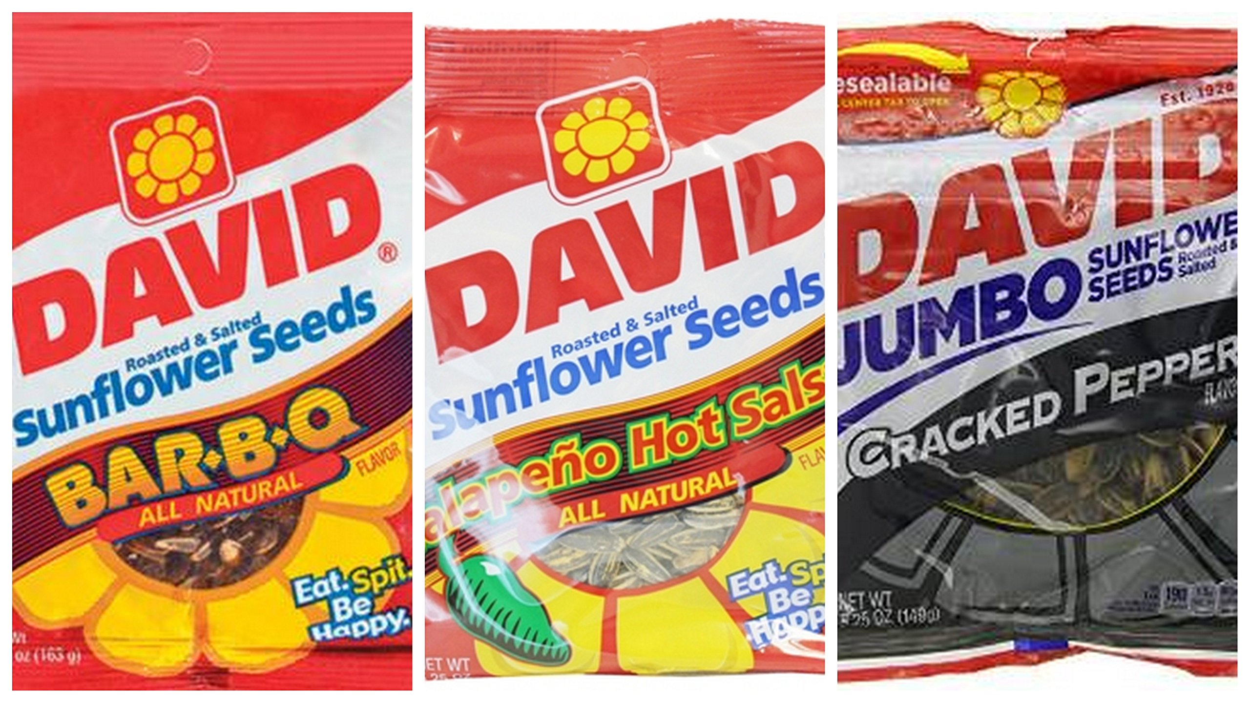 David Sunflower Seeds 5.25 oz Variety Pack (Pack of 7) 3 Bags Cracked Pepper Flavor + 2 Bags BBQ Flavor + 2 Bags Jalapeno Hot Salsa Flavor