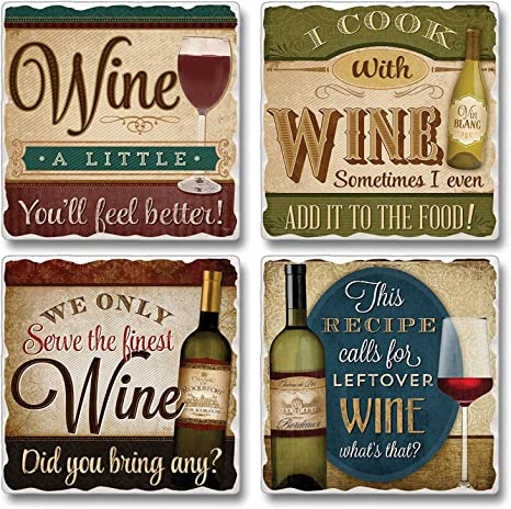 Amazon Com Wine A Little Cook With Wine Serve Only Fine Wine Coasters Set Of 4 Coasters