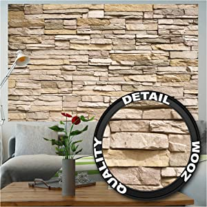 Poster – Noble Beige Stonewall – Picture Decoration Modern Slate Brick Wall Cladding Fieldstone Look Sandstone Rubble Masonry Image Photo Decor Wall Mural (55x39.4in - 140x100cm)