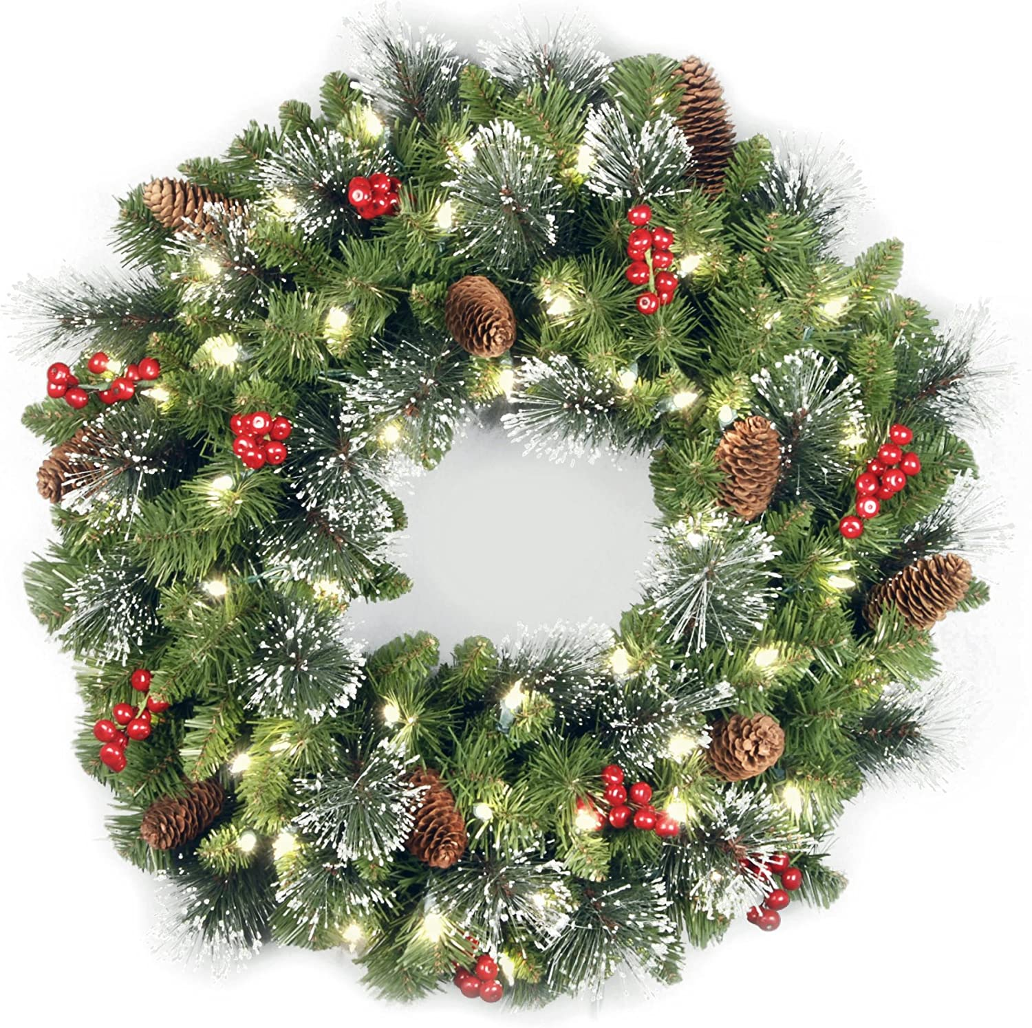Amazon Com National Tree 24 Inch Crestwood Spruce Wreath With Silver Bristles Cones Red Berries Glitter And 50 Clear Lights Cw7 306 24w Home Kitchen