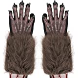 Skeleteen Werewolf Hand Costume Gloves - Brown Hairy Wolf Claw Hands Paws Monster Costume Accessories for Kids and Adults
