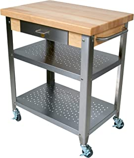 "product image for John Boos Cucina Elegante Maple and Stainless Steel Utility Cart, 30"" x 20"" x 1.75"""