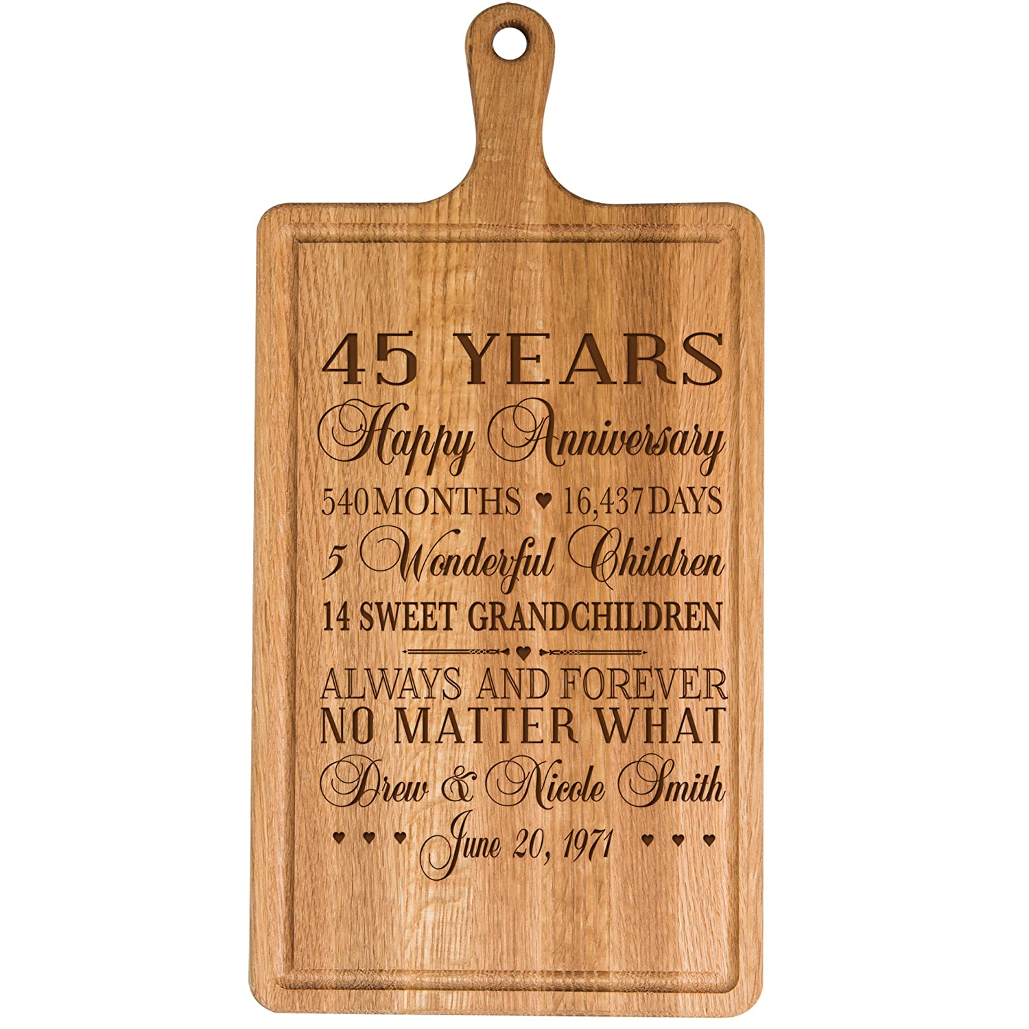 Personalized 45th年記念日のギフト彼女妻夫Couple Cheese Cutting BoardでカスタマイズYear Established日付to Remember for Wedding Gift Ideas by Dayspringマイルストーン B06XH643JB