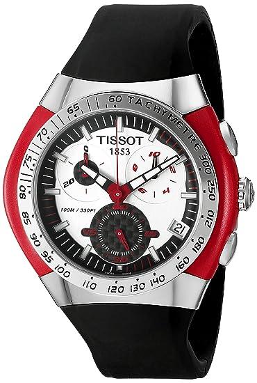 Tissot T-TRACX - Reloj cronógrafo de caballero automático con correa de piel negra (