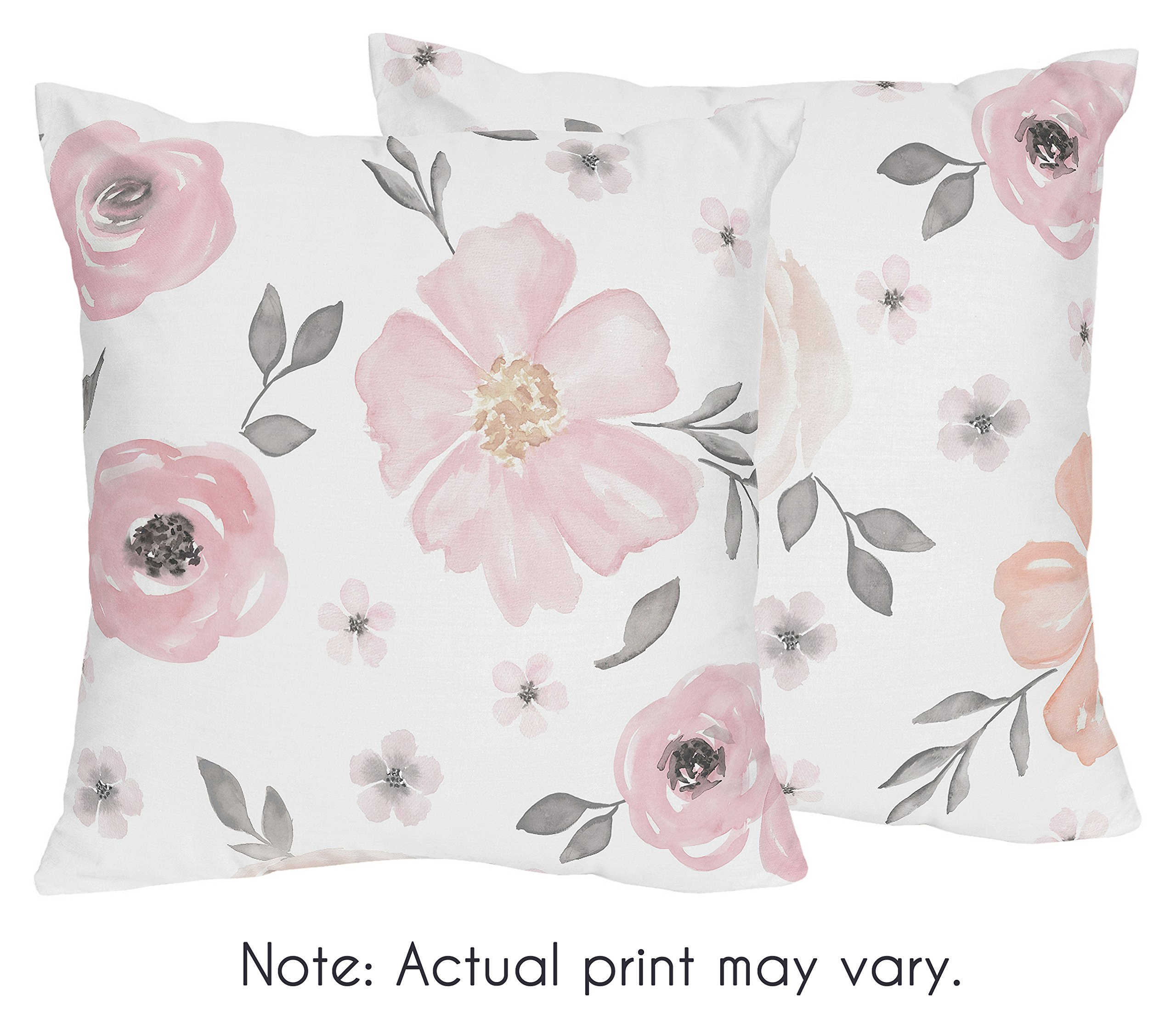 Sweet JoJo Designs 2-Piece Blush Pink, Grey and White Decorative Accent Throw Pillows for Watercolor Floral Collection by