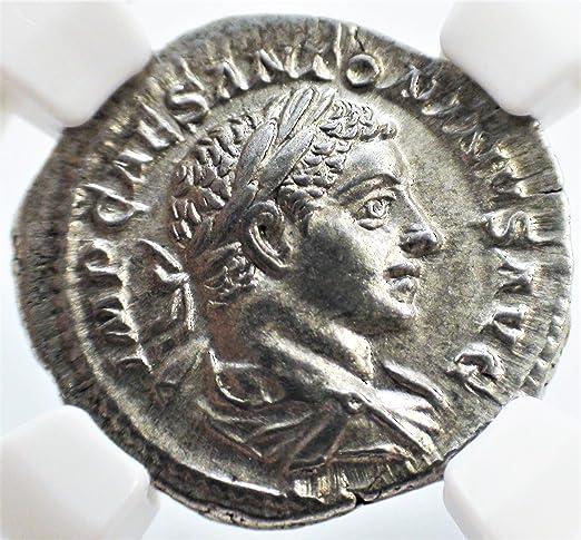 AD 218-222 Roman Empire Silver Denarius of Elagabalus NGC XF SKU57091