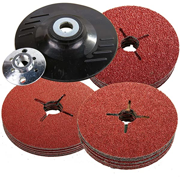 12 Pieces Mixed Grit 22 mm Bore Bosch 2609256248 Fibre Sanding Disc Set for Angle Grinder Clamped for Wood and Metal 115 mm Disc