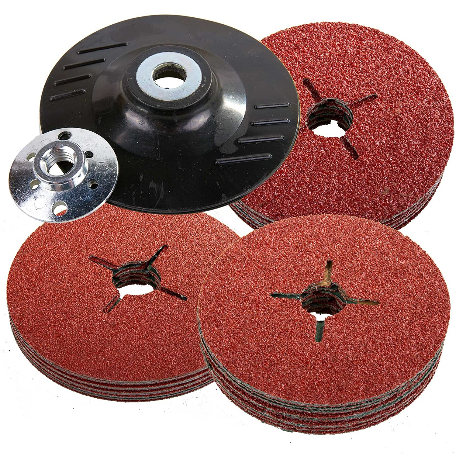 115mm Rubber Backing Pad for Angle Grinder & 30 Fibre Sanding Discs eetools