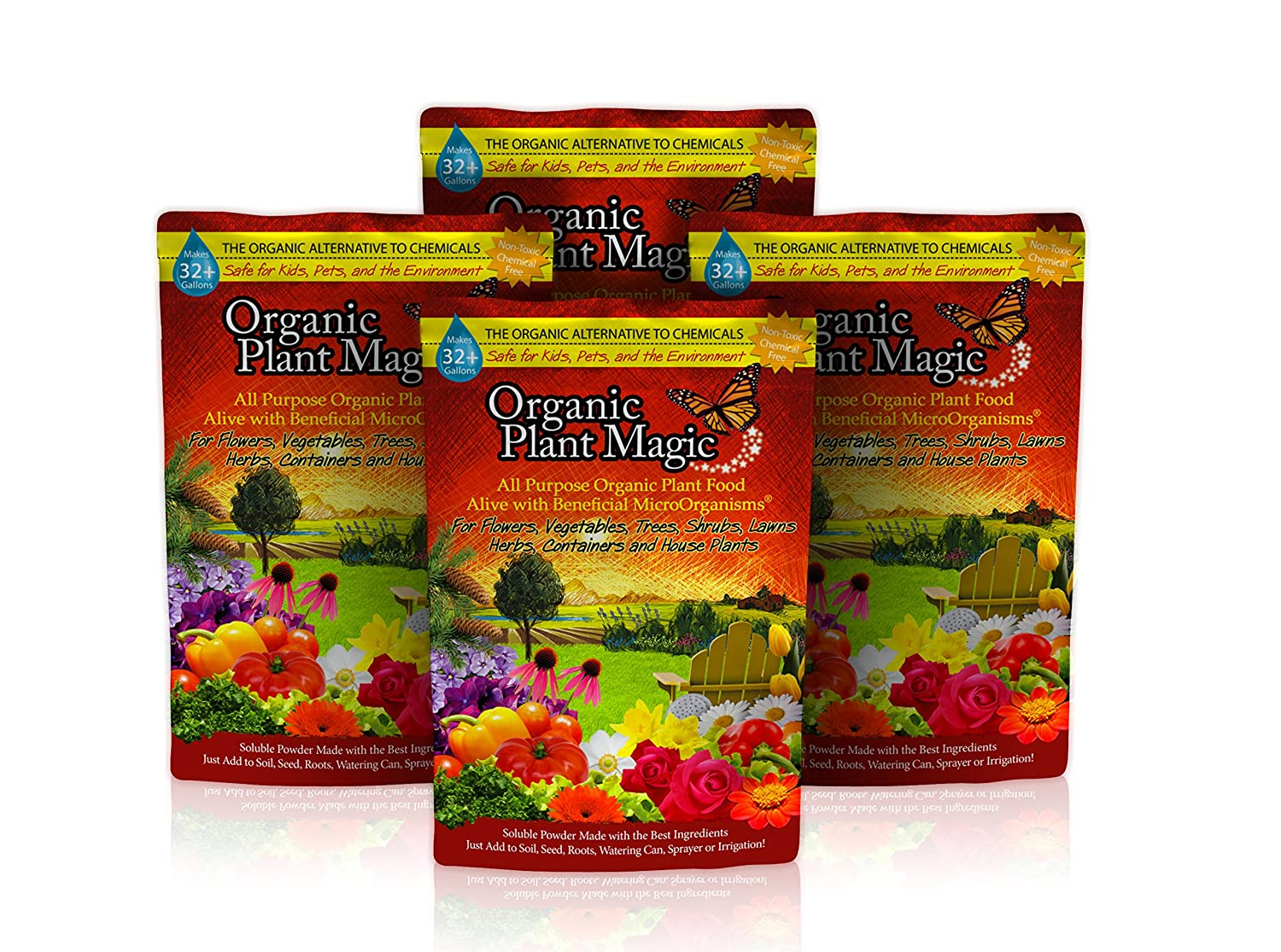 Plant Magic Plant Food 100% Organic Fertilizer - Easy to Use All Purpose  for Indoor Houseplants, Outdoor Flowers, Tomatoes and All Vegetables and