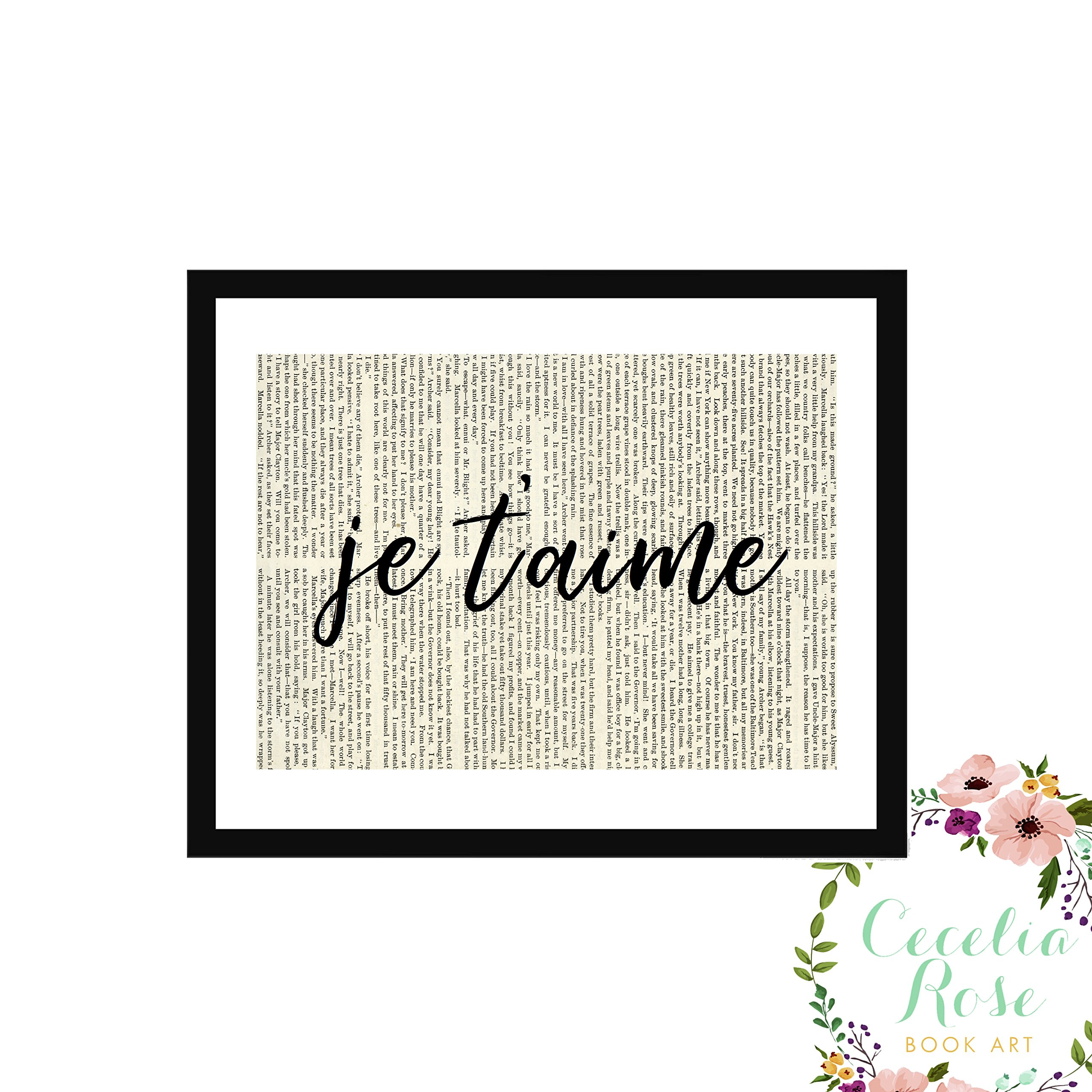 Je T'aime French Translation I Love You Typography Farmhouse Inspirational Quote Upcycled Vintage Book Page Unframed