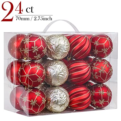 vm valery madelyn 24ct shatterproof christmas balls ornaments luxury red and gold276inch