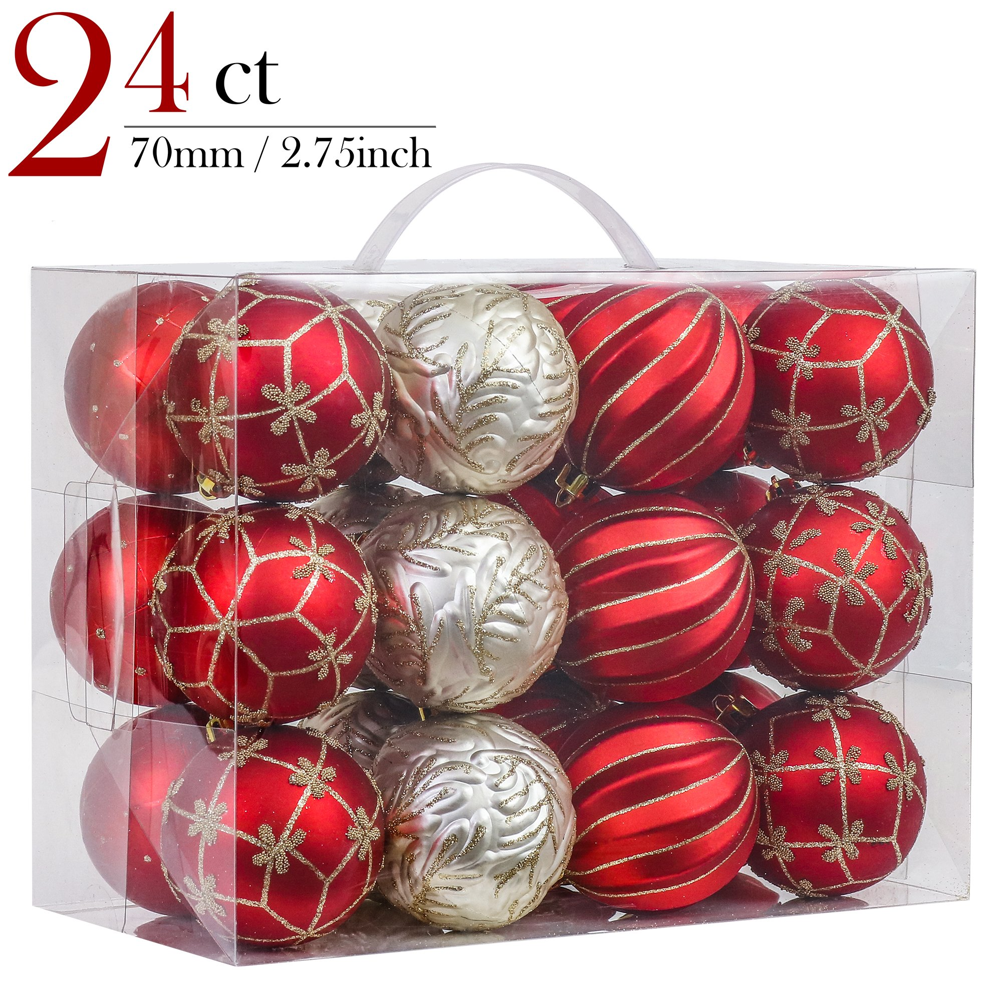 V&M VALERY MADELYN 24ct Shatterproof Christmas Balls Ornaments Luxury Red and Gold,2.76inch/7CM Christmas Hanging Ornaments,24 Hooks Included, Themed with Tree Skirt(Not Included)