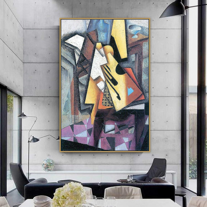 SIRIUSART Arte de Pared Decoración para el hogar Juan Gris Old Master Artista español Guitarra en una Silla Lienzo Pintura Póster Impresión para Sala de Estar 60x90cm 24