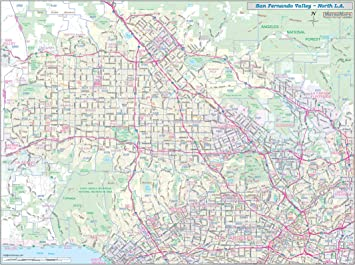 Amazon Com San Fernando Valley North Los Angeles Detailed Arterial Wall Map 48 X 36 W Zip Codes Laminated Office Products