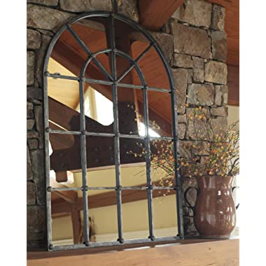 Signature Design by Ashley - Oengus Arched Window Finished Metal Mirror - Traditional - Bronze Finish