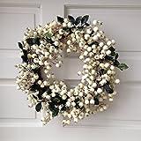 Gisela Graham-Ghirlanda natalizia grande, colore: bianco