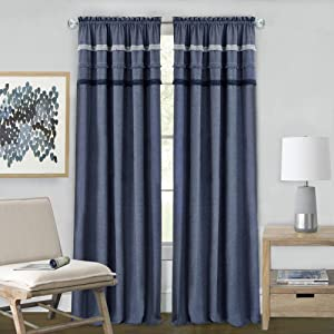 "Achim Home Furnishings Achim Home Imports Blue Jean Rod Pocket Window Curtain Panel, 52"" x 84"""