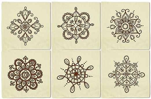 Henna tatuaje elementos impreso lino y algodón servilletas de ...