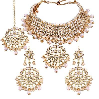 22ac89f67e322 I Jewels Traditional Kundan & Pearl Choker Necklace Set for Women (K7058W)