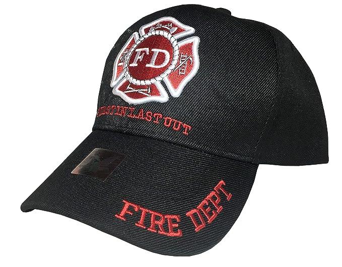 a066b751a Fire Department - First in Last Out, Fireman Officer Gear, Uniform Baseball  Cap Hat, Adjustable