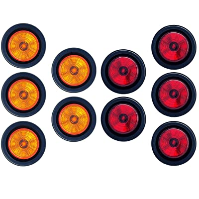 "2"" Round 9 LED Light Trailer Side Marker Clearance Grommet&Plug - 5 Amber+ 5 Red: Automotive"