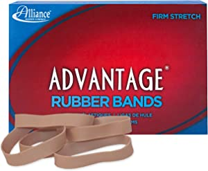 "Alliance Rubber 26825 Advantage Rubber Bands Size #82, 1 lb Box Contains Approx. 230 Bands (2 1/2"" x 1/2"", Natural Crepe)"