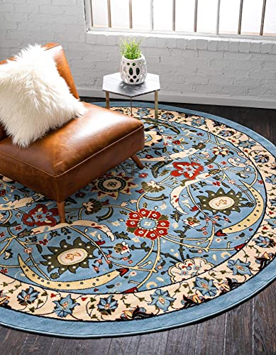 Unique Loom Espahan Collection Classic Traditional Blue Round Rug 8 0 x 8 0