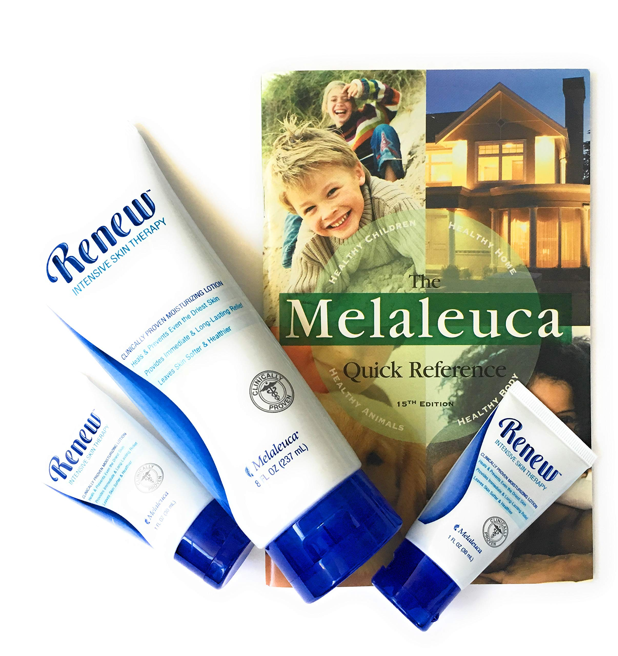 Melaleuca Renew Intensive Skin Therapy Moisturizing Lotion Tube (8 oz) with 2 Travel Size Tubes (1 oz) plus Quick Reference Guide by