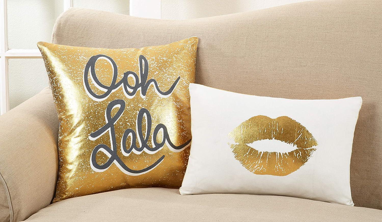 SARO LIFESTYLE Olivia Collection Cotton Kiss Print Down Filled Throw Pillow Multi