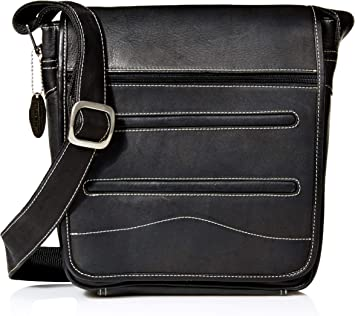 Black Deluxe Medium Flap-Over Messenger One Size David King /& Co