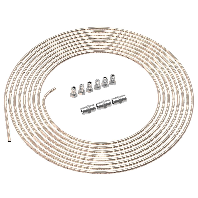 2m Tubo di Freno Ø 4, 75 mm Rame-Nickel Kit + 6 raccordi maschi + 3 connettori M10 x 1 DIN 74 234 Set di Tubi di Cupronickel e Accessori dei Freni per Svasatura DIN F AUPROTEC