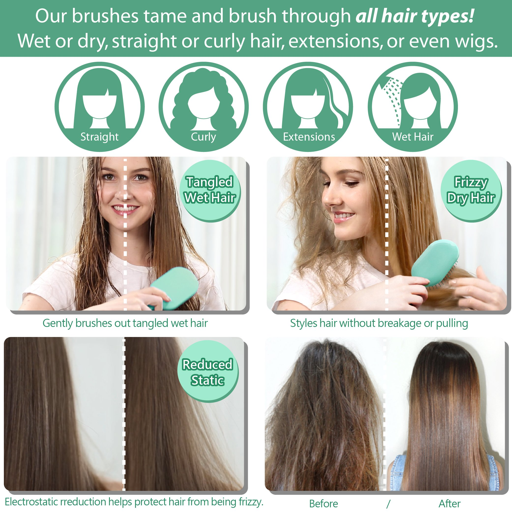 WATCH OUR VIDEO! NuWay 4Hair! Dual Patented Traveler Detangling Brush - Exclusive travel-case - Detangles Wet or Dry Hair - The perfect size for your purse, pocket, kids, beach, and travel! (Green) by NuWay 4Hair (Image #5)
