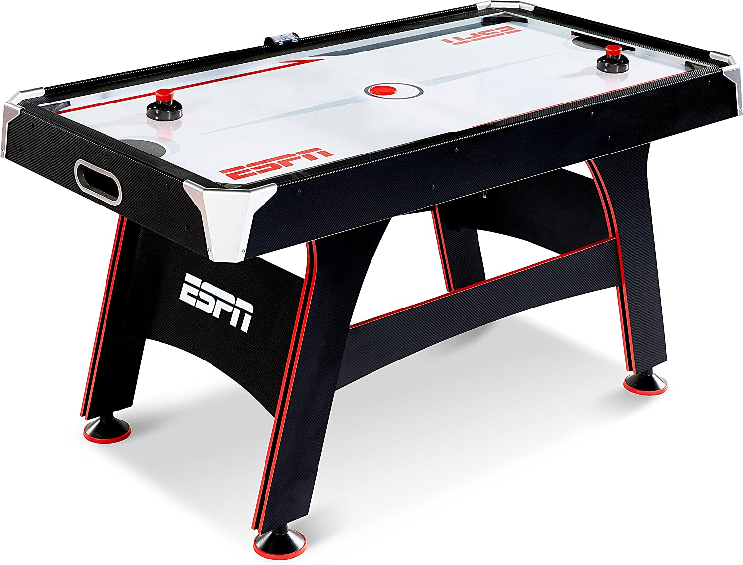 Amazon Com Espn Air Hockey Game Table Indoor Sports Gaming Table Set With Equipment Accessories 2 Paddles 2 Pucks And Led Electronic Score Keeper 5 Feet Sports Outdoors