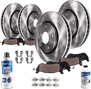 Detroit Axle - All (4) Front and Rear Disc Brake Kit Rotors w/Ceramic Pads w/Hardware & Brake Kit Cleaner & Fluid for 2010 2011 2012 2013-2017 GMC Terrain/Chevy Equinox