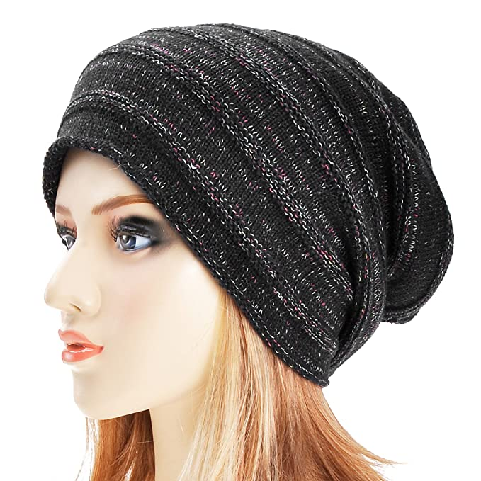 ea5a993e503 Unisex Trendy Double Layers Reversible Warm Oversized Cable Knit Slouchy  Beanie (Black 2)